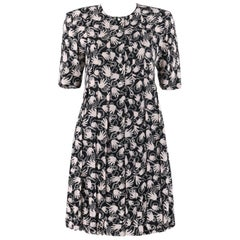 NICOLE MILLER c.1980's Limited Edition Black White Hand Print Button Up Dress