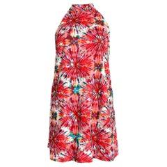 Nicole Miller Transparent Mesh Red Cocktail Short Floral Dress