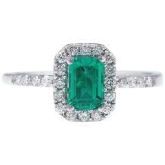 Nicole Rene Columbian Green Emerald Diamond Engagement 18 Karat White Gold