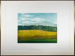 'Untitled (field, hills trees)' original landscape aquatint by Nicolette Jelen