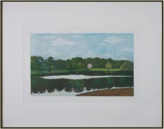 'Untitled (Pink House with Lake)' original aquatint by Nicolette Jelen
