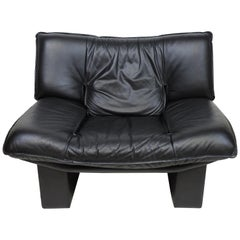 Nicoletti Salotti Italian Post Modern Black Leather Lounge Chair