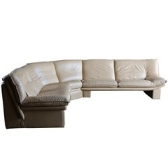 Nicoletti Salotti Modern Leather Sectional Sofa, circa 1985