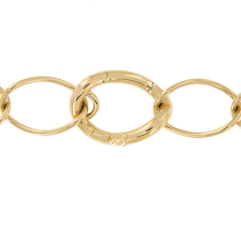 Classic 18 karat yellow gold open twist link necklace made in Italy by Nicolis Cola with hidden clasp. Necklace is 17.5