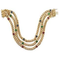 Nicolis Cola Italian Sapphire Ruby Emerald 18 Karat Gold Cuban Link Bracelet