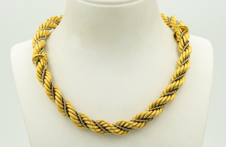 Nicolis Cola Italian Twisted White and Yellow Gold Rope 2 Bracelets or Necklace For Sale 6
