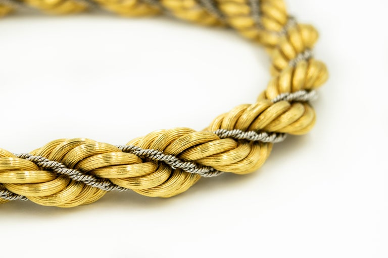 Nicolis Cola Italian Twisted White and Yellow Gold Rope 2 Bracelets or Necklace In Good Condition For Sale In Miami Beach, FL