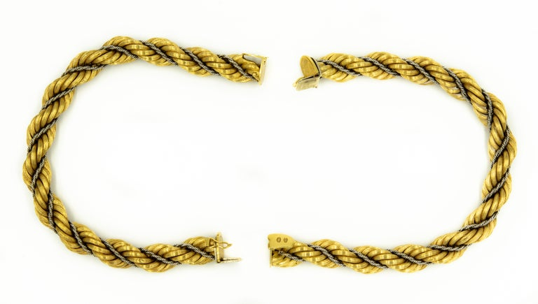 Women's Nicolis Cola Italian Twisted White and Yellow Gold Rope 2 Bracelets or Necklace For Sale