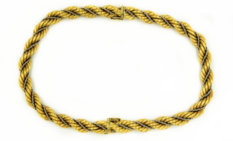 Nicolis Cola Italian Twisted White and Yellow Gold Rope 2 Bracelets or Necklace For Sale 1