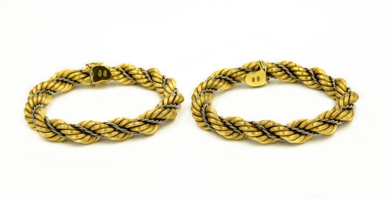 Nicolis Cola Italian Twisted White and Yellow Gold Rope 2 Bracelets or Necklace For Sale 3