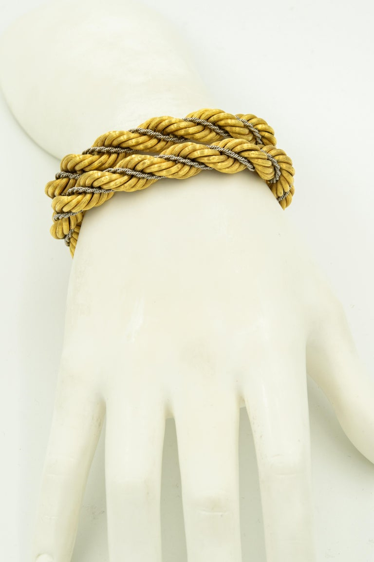 Nicolis Cola Italian Twisted White and Yellow Gold Rope 2 Bracelets or Necklace For Sale 5