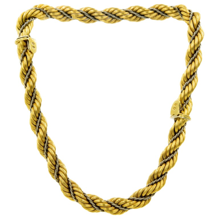 Nicolis Cola Italian Twisted White and Yellow Gold Rope 2 Bracelets or Necklace For Sale