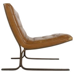 Nicos Zographos Cantilever Bronze Base Lounge Chair CH28 in Carmel Leather