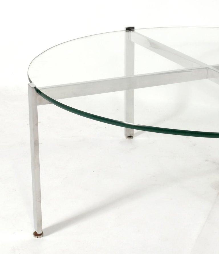Mid-Century Modern Nicos Zographos Chrome X-Base Coffee Table For Sale