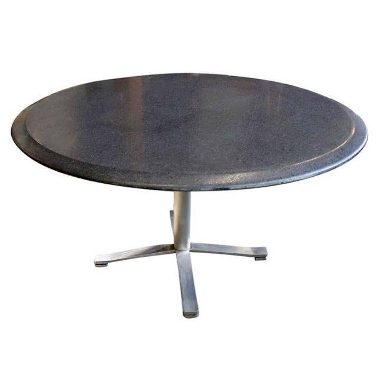 Nicos Zographos Mid Century Modern Granite Round Top Stainless Steel Base  Table