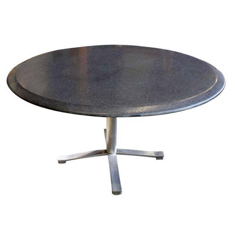 Nicos Zographos Mid-Century Modern Granite Round Top Stainless Steel Base Table