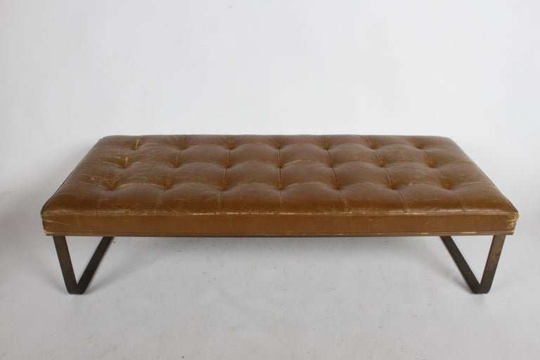 American Nicos Zographos Museum Bench with Bronze Base For Sale