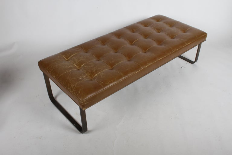 Nicos Zographos Museum Bench with Bronze Base In Good Condition For Sale In St. Louis, MO