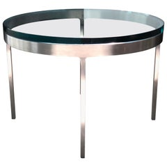 Nicos Zographos Side Table in Polished Stainless and Glass