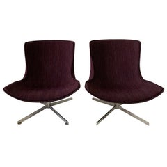 Nicos Zographos Style Midcentury Swivel Chairs, Pair