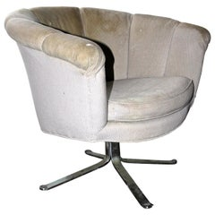 Nicos Zographos Swivel Barrel Chair, Stainless Steel Alpha Base