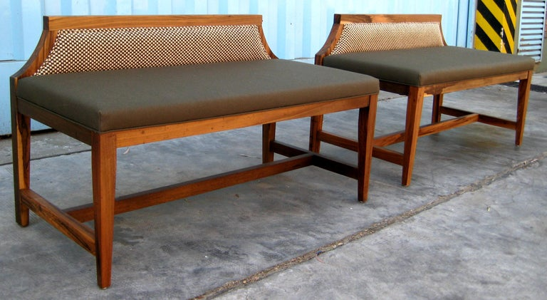 Wood Nicostrato Modern Customizable Bench in Argentine Rosewood from Costantini For Sale