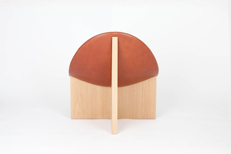 Woodwork NIDO Modern Lounge Chair in Solid Maple & Cognac Leather by Estudio Persona For Sale
