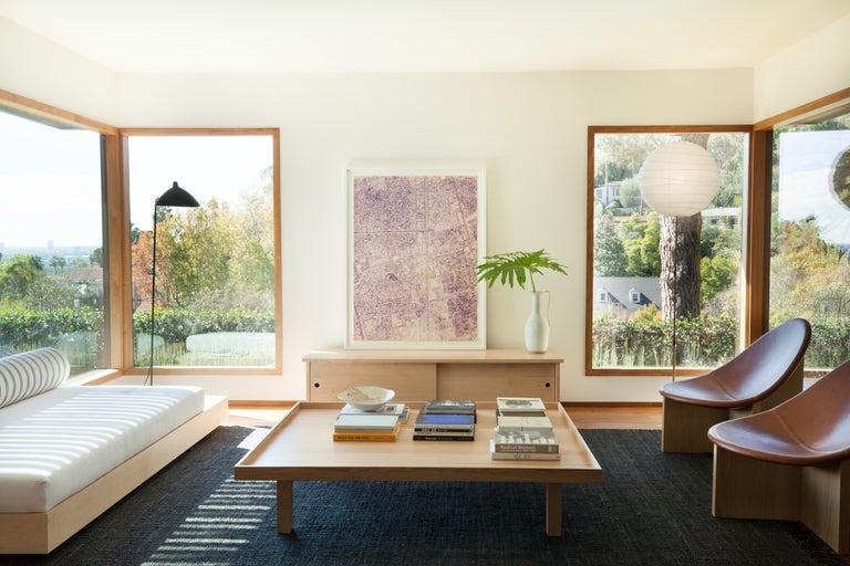 Nido Modern Lounge Chair, White Oak Base & Blush Leather seat by Estudio Persona For Sale 3