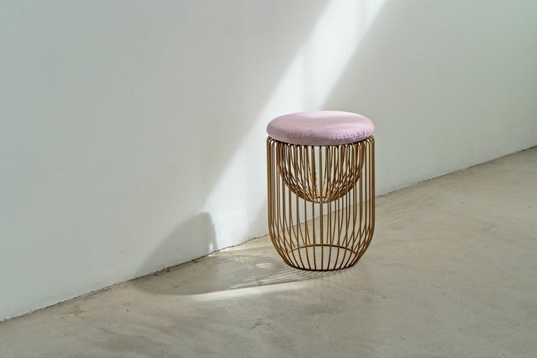 Nido Stool with Upholstered Pillow in Pink In New Condition For Sale In Brooklyn, NY