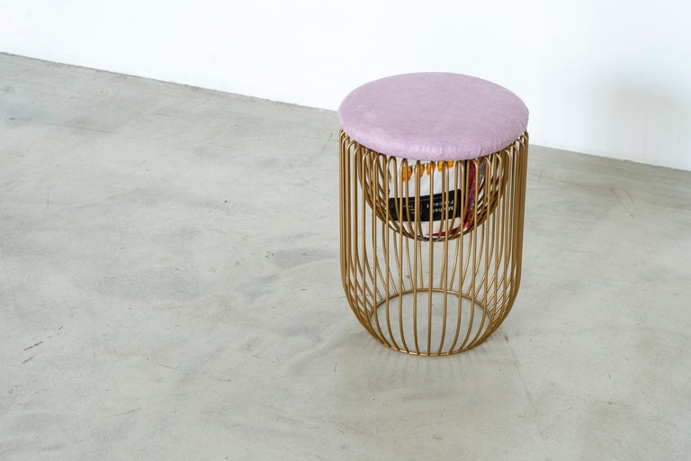 Contemporary Nido Stool with Upholstered Pillow in Pink For Sale