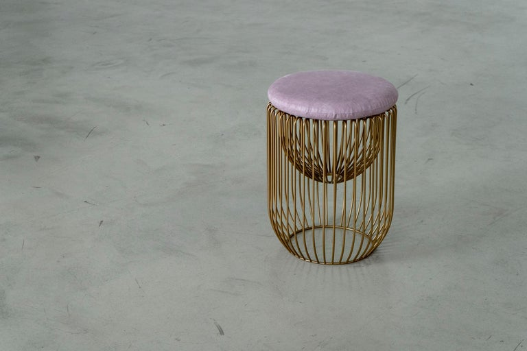 Steel Nido Stool with Upholstered Pillow in Pink For Sale