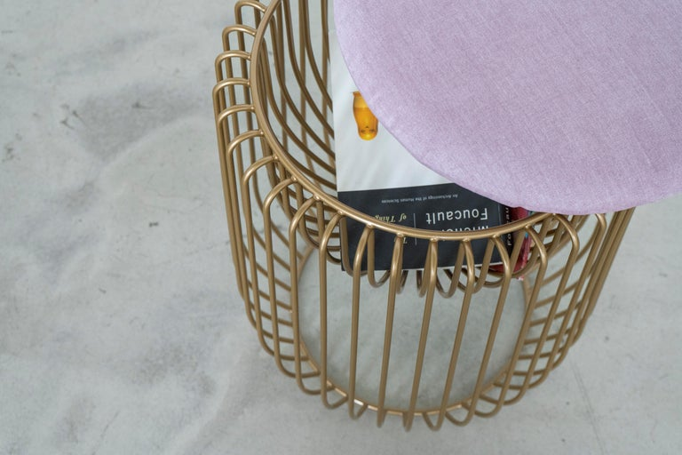 Beaded Nido Stool with Upholstered Pillow in Pink For Sale