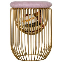 Nido Stool with Upholstered Pillow in Pink