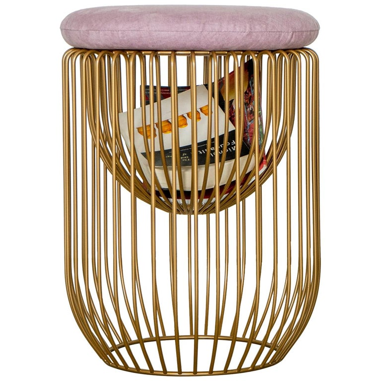 Nido Stool with Upholstered Pillow in Pink For Sale