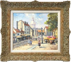 """Place Du Tertre "" Impressionist Oil Painting with Figures in Parisian Village"