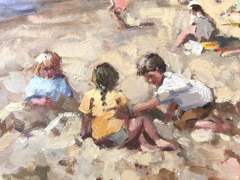 This captivating beach scene from the 21st Century is a wonderful display of Van der Plas's true passion for outdoor genre paintings. A wonderfully rich beach scene depicting figures in the sand with beach huts in the distance. The impressionist