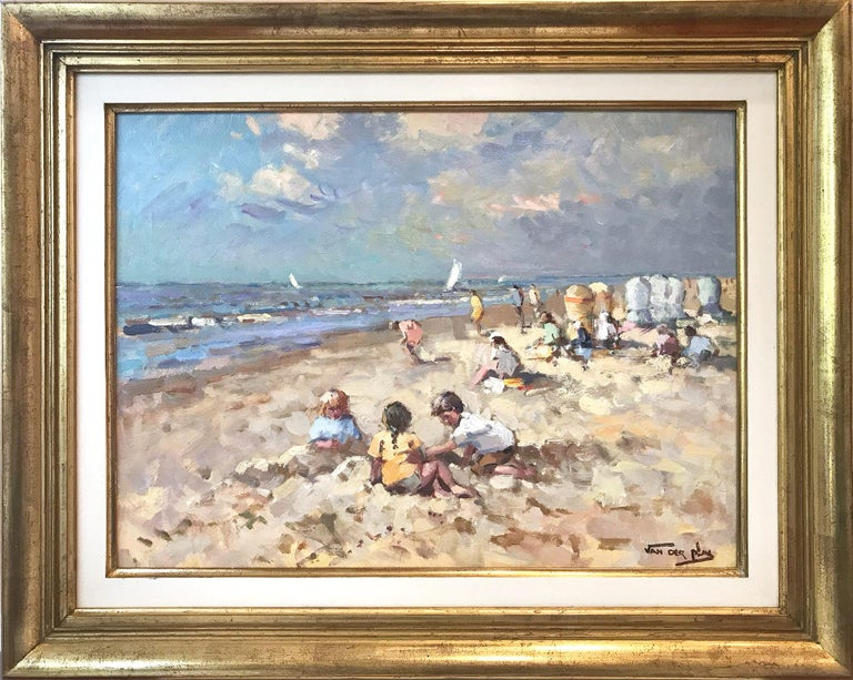 """Niek van der Plas Landscape Painting - """"Kids at the Beach"""" Impressionist Scene Oil Painting with Sail Boats and Figures"""