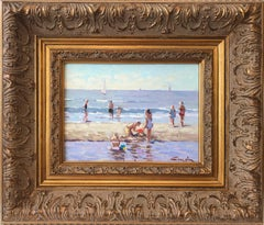 """""""Kids Playing at the Beach"""" Impressionist Oil Paint with Sail Boats and Figures"""