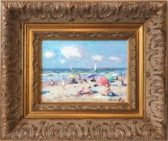 """Kids Playing at the Beach"" Impressionist Oil Paint with Sail Boats and Figures"