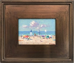 """Naples Beach"" Impressionist Scene Oil Painting with Sail Boats and Figures"