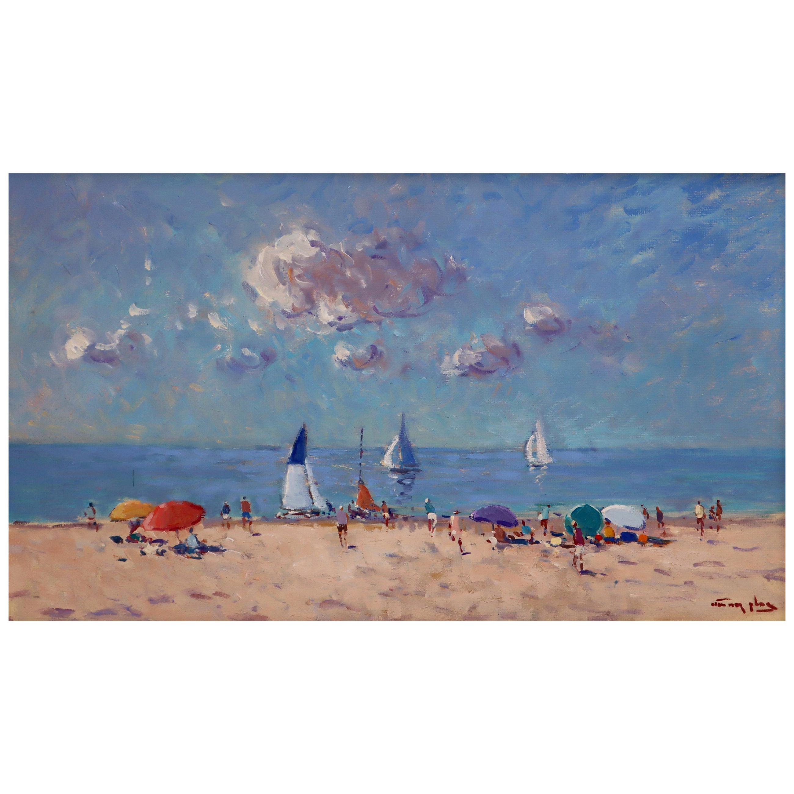 Niek Van Der Plas, Oil on Canvas, Summer Beach