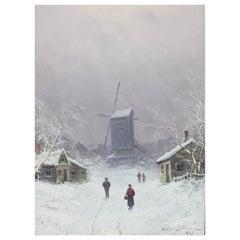 "Niels Christensen ""Winter Day"" Oil on Board"