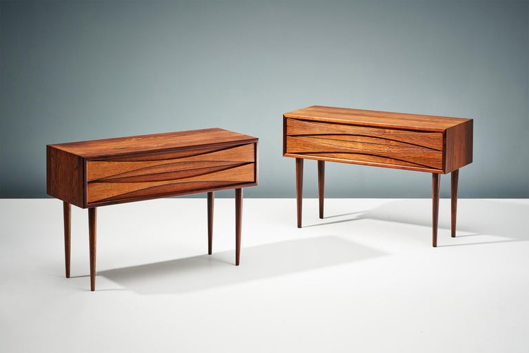 Scandinavian Modern Niels Clausen Pair of 1960s Rosewood Bedside Cabinets For Sale