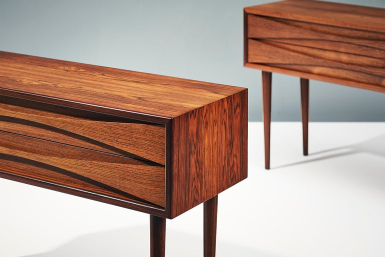 Danish Niels Clausen Pair of 1960s Rosewood Bedside Cabinets For Sale