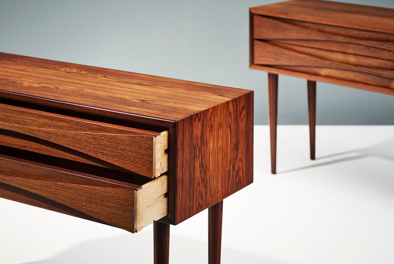Mid-20th Century Niels Clausen Pair of 1960s Rosewood Bedside Cabinets For Sale