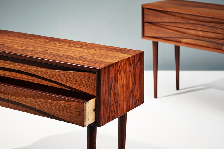 Niels Clausen Pair of 1960s Rosewood Bedside Cabinets For Sale 1