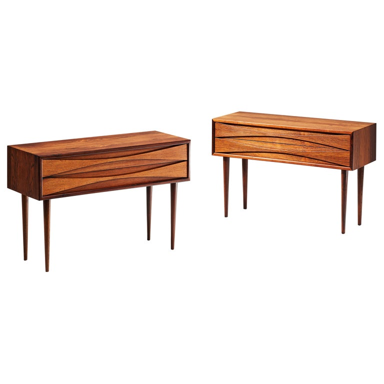 Niels Clausen Pair of 1960s Rosewood Bedside Cabinets For Sale