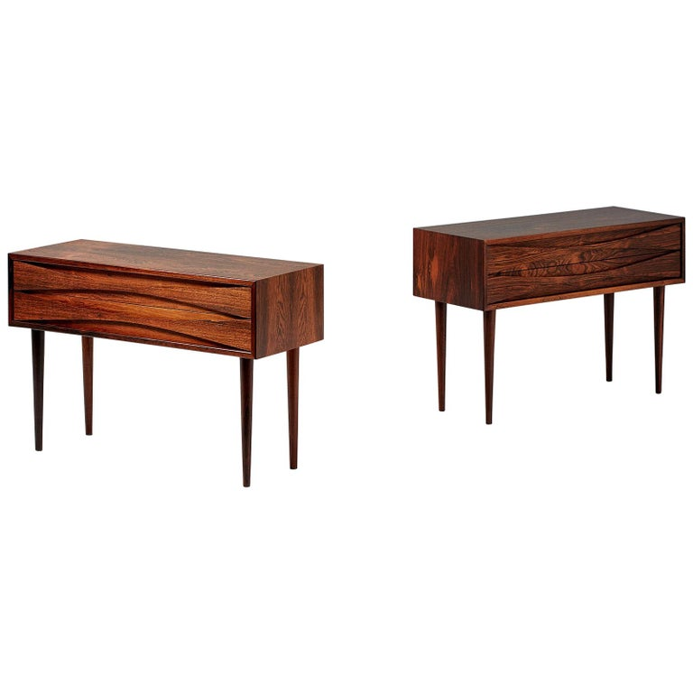Niels Clausen Pair of Rosewood Nightstands, circa 1960 For Sale