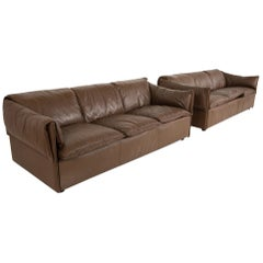 Niels Eilersen Midcentury Danish Leather Sofa, Pair