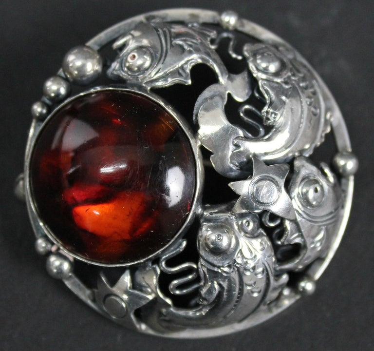 Niels Erik From Danish Modernist Brooch Sterling Silver and Amber For Sale 3